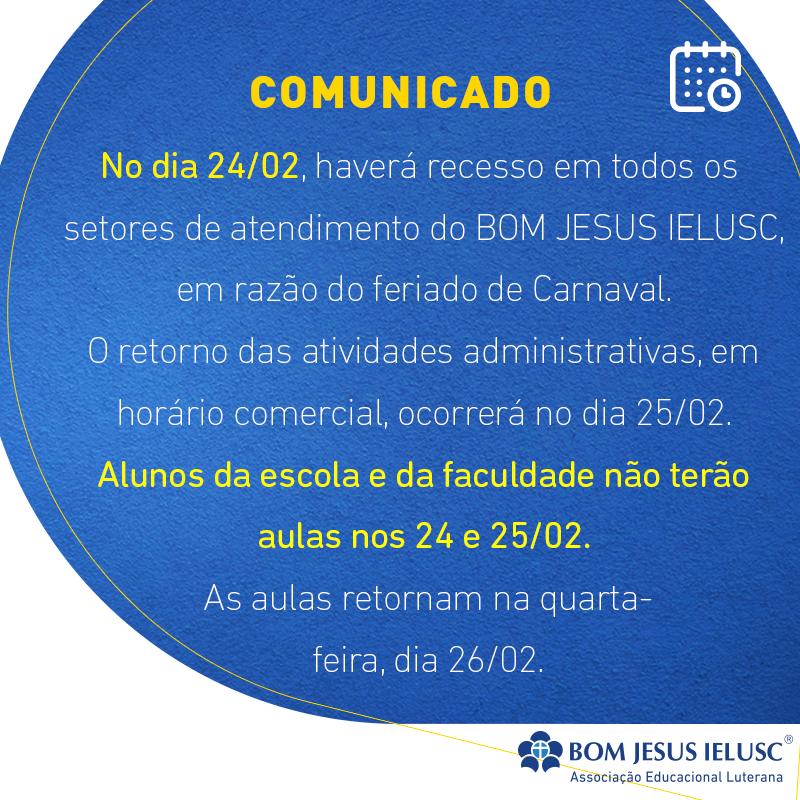 Comunicado – Feriado de Carnaval